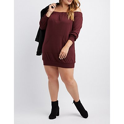 Plus Size Off-The-Shoulder Sweatshirt Dress