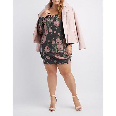 Plus Size Floral Off-The-Shoulder Sweatshirt Dress