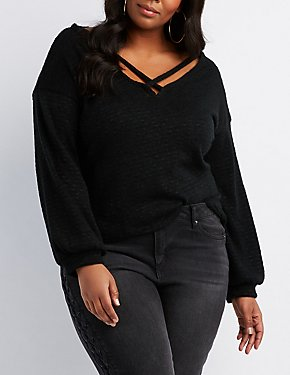 Plus Size Strappy Caged Pullover Top