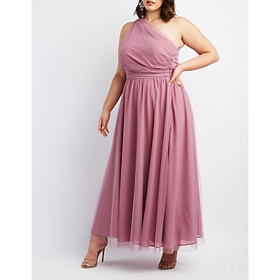 Plus Size Ruched One Shoulder Maxi Dress Charlotte Russe
