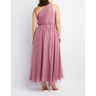 Plus Size Ruched One-Shoulder Maxi Dress