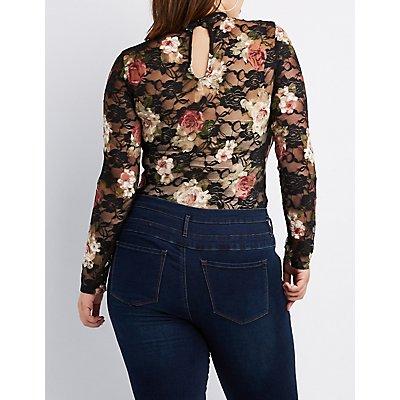 Plus Size Floral Sheer Mesh Bodysuit