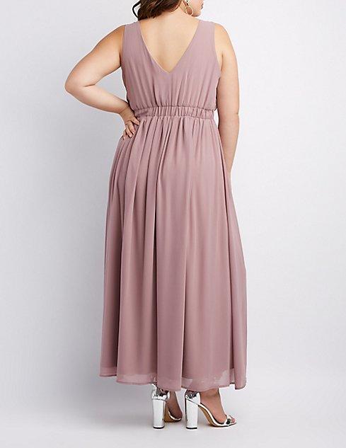 Plus Size Pleated Chiffon Maxi Dress Charlotte Russe