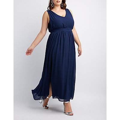 Plus Size Pleated Chiffon Maxi Dress