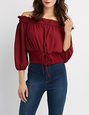 Lace-Up Detail Off-The-Shoulder Crop Top