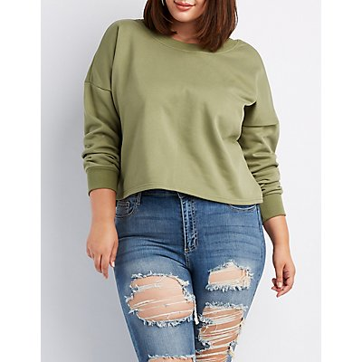 Plus Size Lace-Up Detail Pullover Sweatshirt
