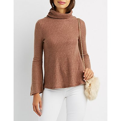Hacci Cowl Neck Split-Back Sweater
