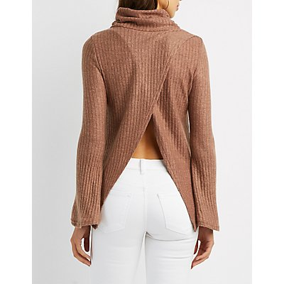 Hacci Cowl Neck Split-Back Sweater