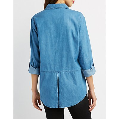 Chambray Lace-Up Pocket Shirt