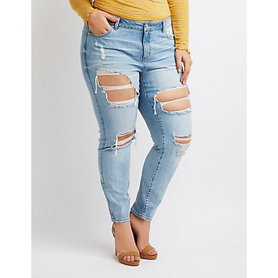 Plus Size Refuge Destroyed Boyfriend Jeans
