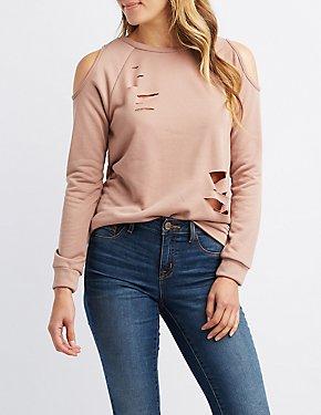 Destroyed Cold Shoulder Sweatshirt