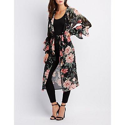 Floral Tie-Front Kimono