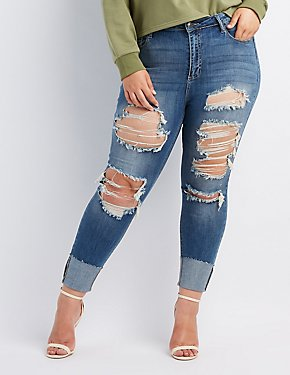 Plus Size Cello Destroyed Cuffed Skinny Jeans