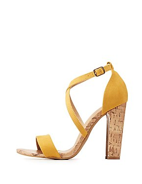 Crisscross Cork Heel Sandals