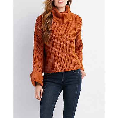 Waffle Knit Cowl Neck Cropped Sweater