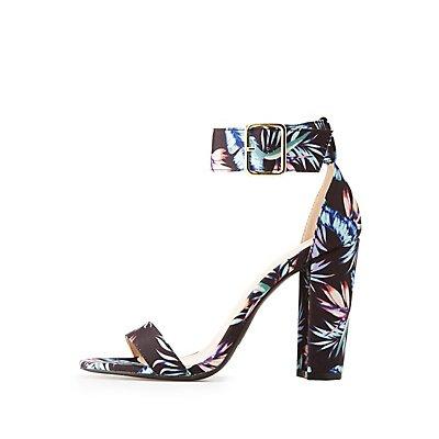 Qupid Floral Ankle Strap Sandals