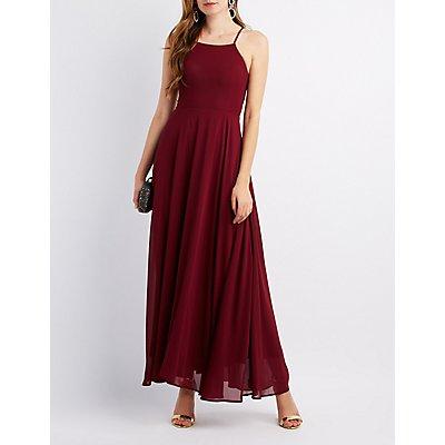 Lace-Up Back Maxi Dress