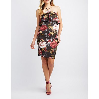 Floral Ruffle Bib Neck Bodycon Dress