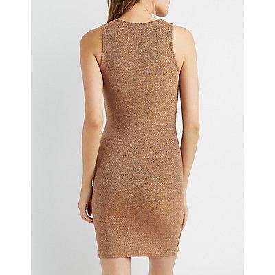 Metallic Surplice Bodycon Dress