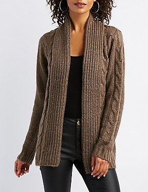 Cable Knit Open-Front Shawl Cardigan