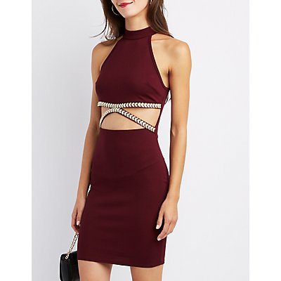 Embellished Halter Cut-Out Bodycon Dress