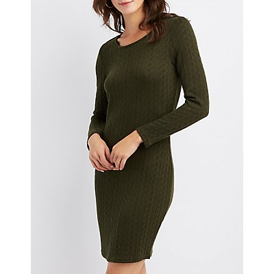 Cable Knit Bodycon Sweater Dress