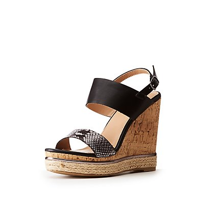Faux Snakeskin & Leather Wedge Sandals