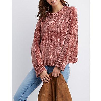 Scalloped-Trim Chenille Sweater