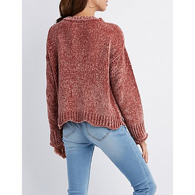 Scalloped-Trim Chenille Sweater