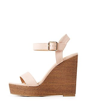 Faux Suede Two-Piece Wedge Sandals