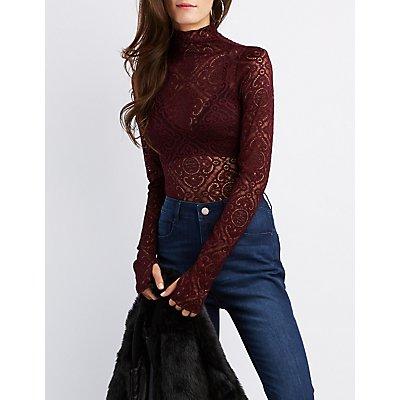 Mock Neck Lace Bodysuit