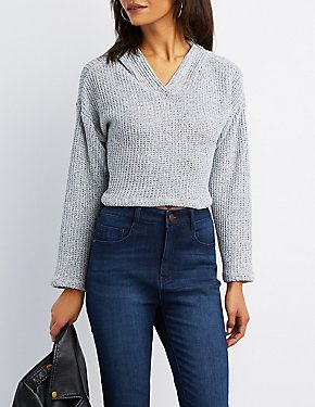 Open-Knit Cropped Hoodie