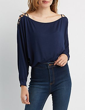 Lattice-Shoulder Dolman Top