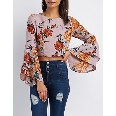 Floral Bell Sleeve Crop Top