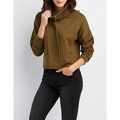 Cowl Neck Drawstring Pullover Sweatshirt