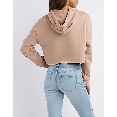 Cuff-Off Cropped Hoodie