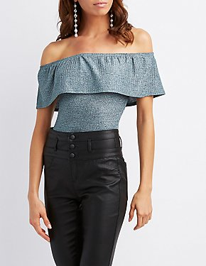 Ribbed Ruffle-Trim Off-The-Shoulder Bodysuit