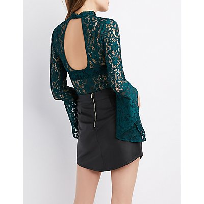 Bell Sleeve Open-Back Lace Bodysuit