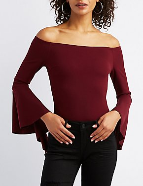 Off-The-Shoulder Bell Sleeve Skimmer Top