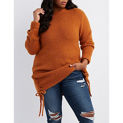 Plus Size Lace-Up Sides Crew Neck Sweater