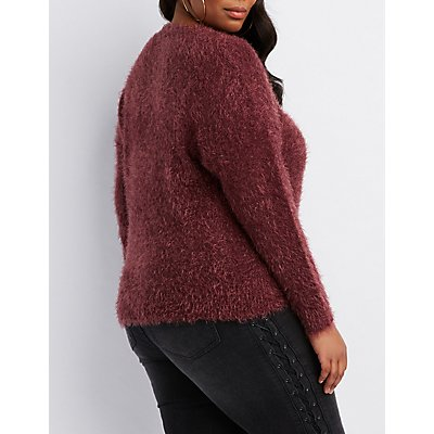 Plus Size Feather Knit Wrap-Front Sweater