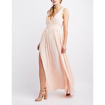 Chiffon V-Neck Maxi Dress