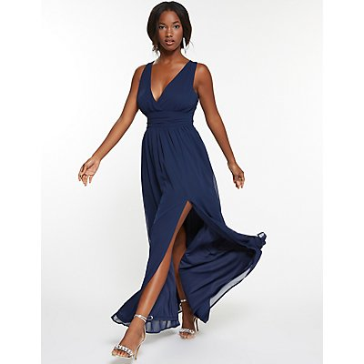 Chiffon V-Neck Maxi Dress