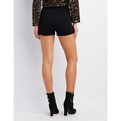 High-Rise Ponte Knit Shorts