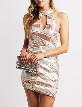 Mock Neck Sequins Bodycon Dress