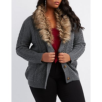 Plus Size Faux Fur-Trim Button-Up Cardigan