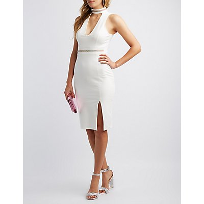 Rhinestone Mock Neck Bodycon Dress