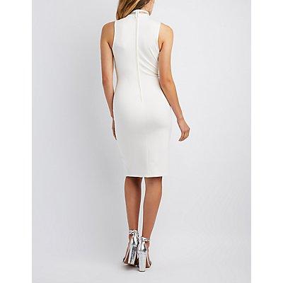 Rhinestone Mock Neck Bodycon Dress