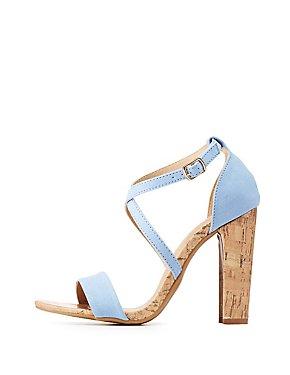 Crisscross Cork Heel Sandals