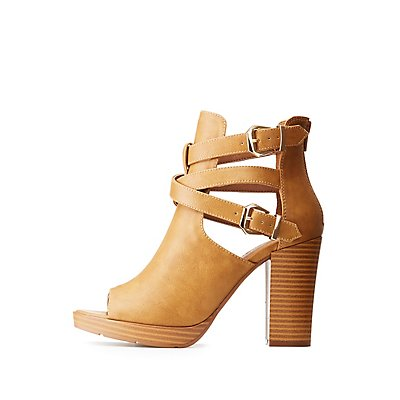 Wrapped Buckle Cut-Out Peep Toe Booties